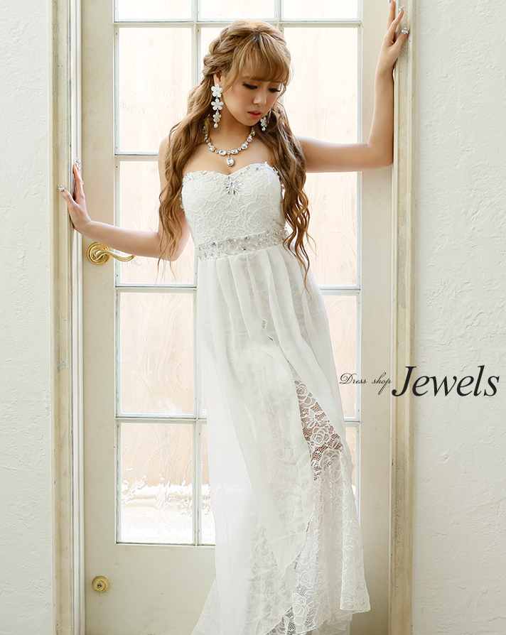 ホワイトカラーシフォンロングドレス